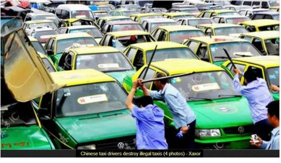china taxi drivers bashing taxis