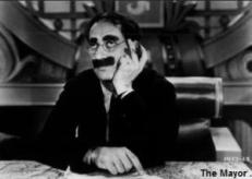 groucho at desk